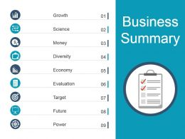 Business Summary Powerpoint Slides Templates
