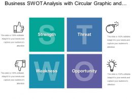 Business Swot Analysis With Circular Graphic And Icons