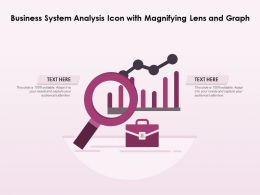 Business System Analysis Icon With Magnifying Lens And Graph