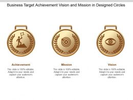 Business Target Achievement Vision And Mission In Designed Circles