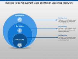 Business Target Achievement Vision And Mission Leadership Teamwork