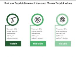 Business Target Achievement Vision And Mission Target And Values