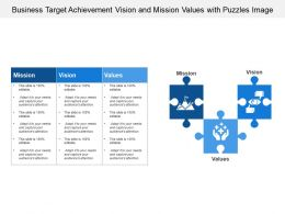 Business Target Achievement Vision And Mission Values With Puzzles Image