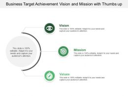 Business Target Achievement Vision And Mission With Thumbs Up