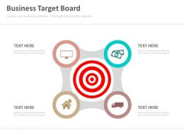 Business Target Board And Icons Powerpoint Slides