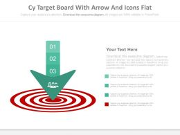 Business Target Board With Arrow And Icons Powerpoint Slides