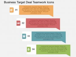 Business Target Deal Teamwork Icons Flat Powerpoint Design