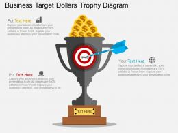 Business Target Dollars Trophy Diagram Flat Powerpoint Desgin
