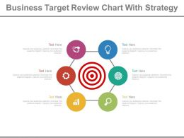 Business Target Review Chart With Strategy Powerpoint Slides
