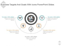 Business Targets And Goals With Icons Powerpoint Slides