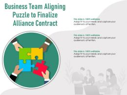 Business Team Aligning Puzzle To Finalize Alliance Contract
