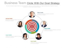 Business Team Circle With Our Goal Strategy Powerpoint Slides