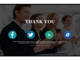 Business Team Graphic With Thank You And Social Media Icons Powerpoint Slides