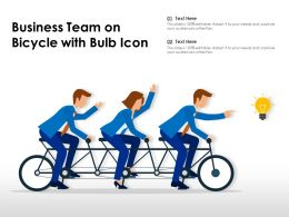 Business Team On Bicycle With Bulb Icon