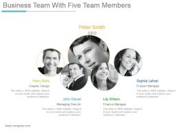 Business Team With Five Team Members Powerpoint Slide Graphics