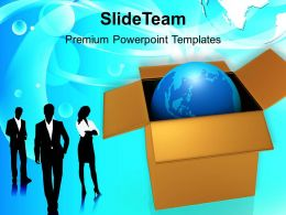 Business Team With Globe In Box Powerpoint Templates Ppt Themes And Graphics 0213