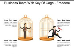 Business Team With Key Of Cage Freedom Good Ppt Example