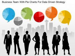 Business Team With Pie Charts For Data Driven Strategy Powerpoint Slides