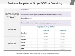 Business Template For Scope Of Work Describing Business Case Problem Statement And Plan Detail