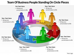 Business Templates team of people standing on pie chart pieces Sales PPT Slides