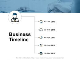 Business Timeline Five Years Ppt Powerpoint Presentation Slides Outline