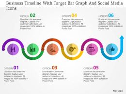 Business Timeline With Target Bar Graph And Social Media Icons Flat Powerpoint Design