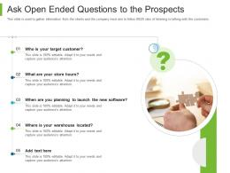 Business To Business Marketing Ask Open Ended Questions To The Prospects Ppt Slides Picture
