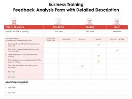 Business Training Feedback Analysis Form With Detailed Description