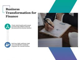 Business Transformation For Finance Ppt Examples Slides