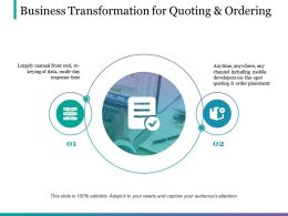 Business Transformation For Quoting And Ordering Ppt Sample File