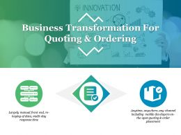 Business Transformation For Quoting And Ordering Ppt Templates
