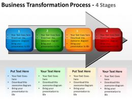 business transformation process 4 Stages with horizontal arrows textboxes powerpoint templates 0712