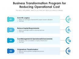 Business Transformation Program For Reducing Operational Cost