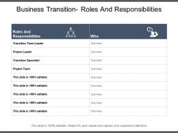 Business Transition Roles And Responsibilities