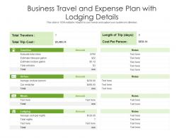 Business Travel And Expense Plan With Lodging Details