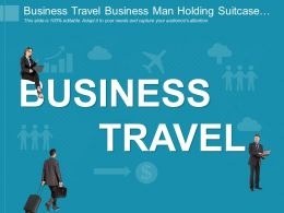 Business Travel Business Man Holding Suitcase Portfolio And Laptop