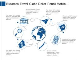 Business Travel Globe Dollar Pencil Mobile Magnifying Glass