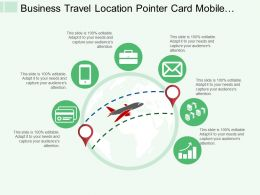Business Travel Location Pointer Card Mobile Message Envelope And Bar Graph