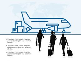 Business Travel Silhouette Carrying Suitcase And Airplane