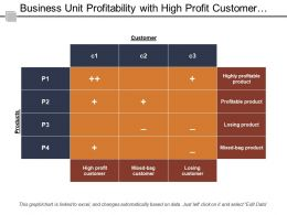 Business Unit Profitability With High Profit Customer Profitable Product And Losing Product