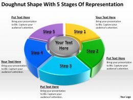 Business Use Case Diagram Doughnut Shape With 5 Stages Of Representation Powerpoint Slides