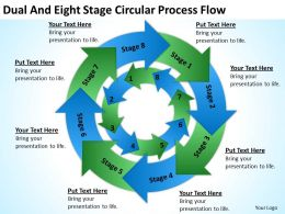 Business Use Case Diagram Dual And Eight Stage Circular Process Flow Powerpoint Slides