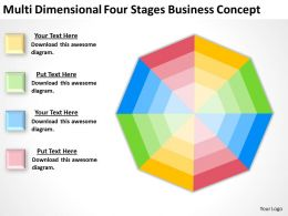 Business Use Case Diagram Multi Dimensional Four Stages Concept Powerpoint Slides 0522