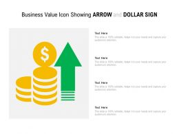 Business Value Icon Showing Arrow And Dollar Sign