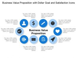 Business Value Proposition With Dollar Goal And Satisfaction Icons