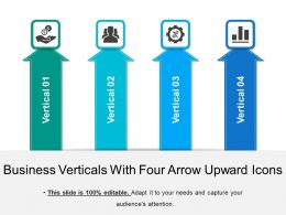 Business Verticals With Four Arrow Upward Icons