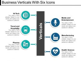 Business Verticals With Six Icons