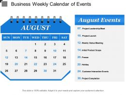 Business Weekly Calendar Of Events
