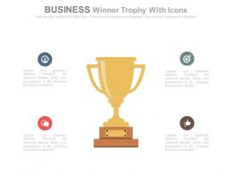 Business Winner Trophy With Icons Powerpoint Slides