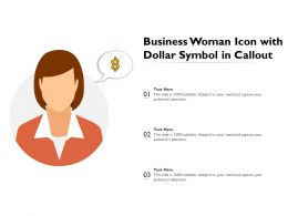 Business Woman Icon With Dollar Symbol In Callout